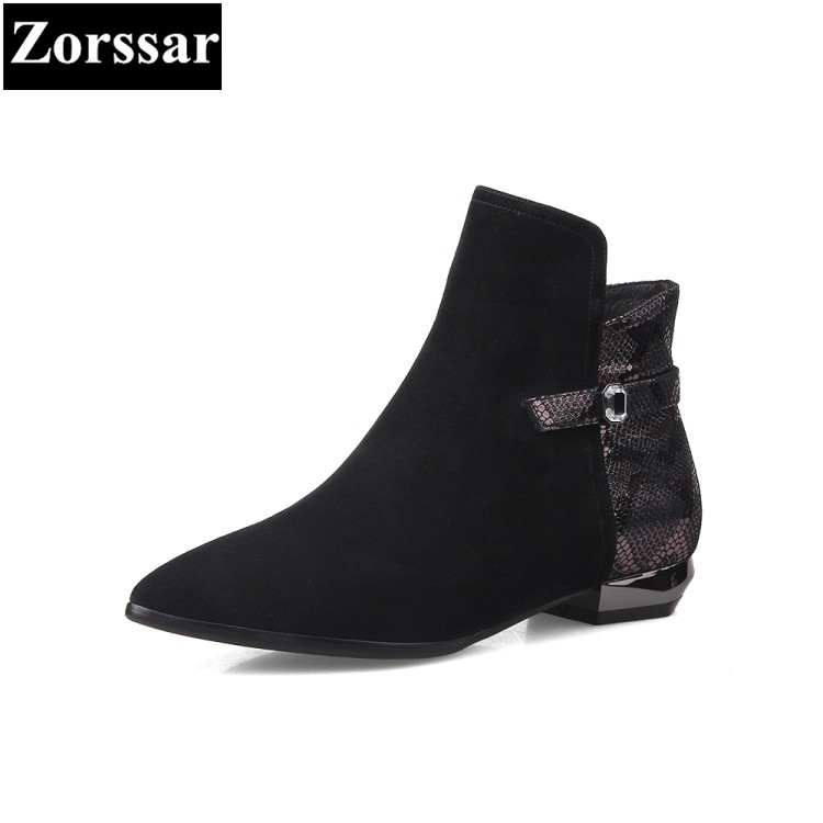 {Zorssar} 2017 Winter Woman shoes Fashion Kid Suede pointed toe Low heel short Boots Casual women ankle Martin boots autumn winter cool fashion black leather and suede spike heel short boots charming woman pointed toe ankle boots concise design