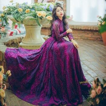 7bb52b5cf0 Niñas vestidos damas rojo primavera BIG mujeres Larga moda vestido invierno  vestido retro nueva Holiday Encaje ...