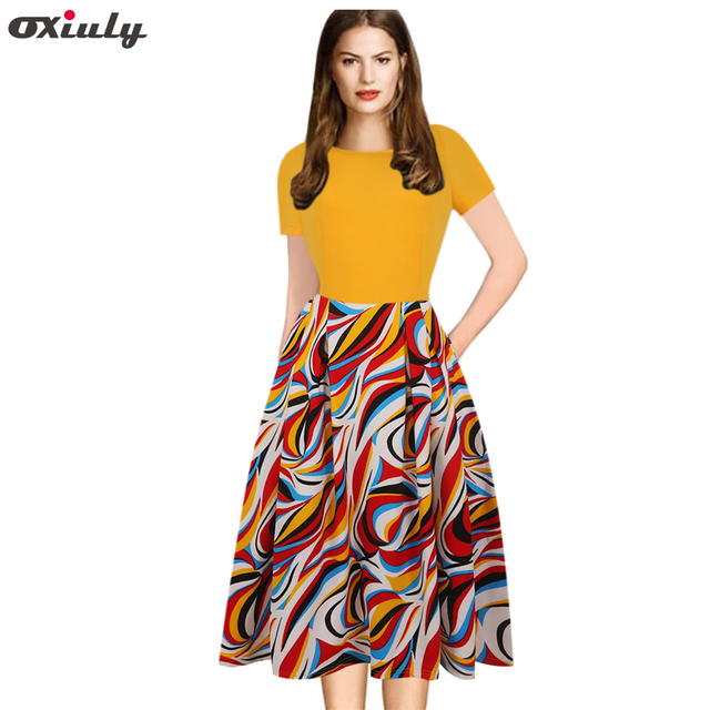 d644b61dfae14 Oxiuly 3XL 4XL 5XL Women Yellow Flower Print Contrast Patchwork Tunic Retro  Casual Work Party Fit and Flare A line Skater Dress-in Dresses from ...
