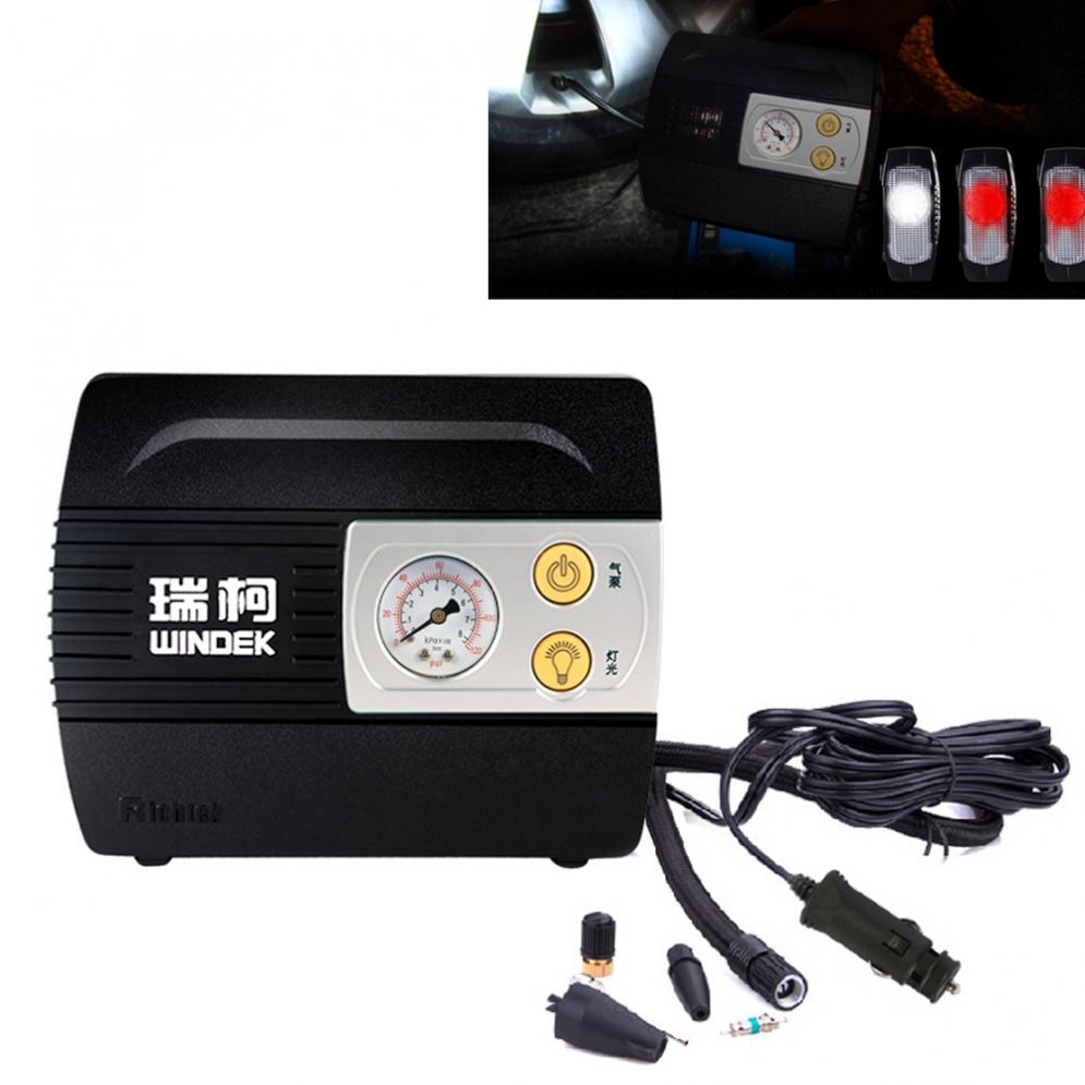 HOT WINDEK Portable 100PSI Vehicle Car Tire Inflator Air Compressor Pump With LED Light