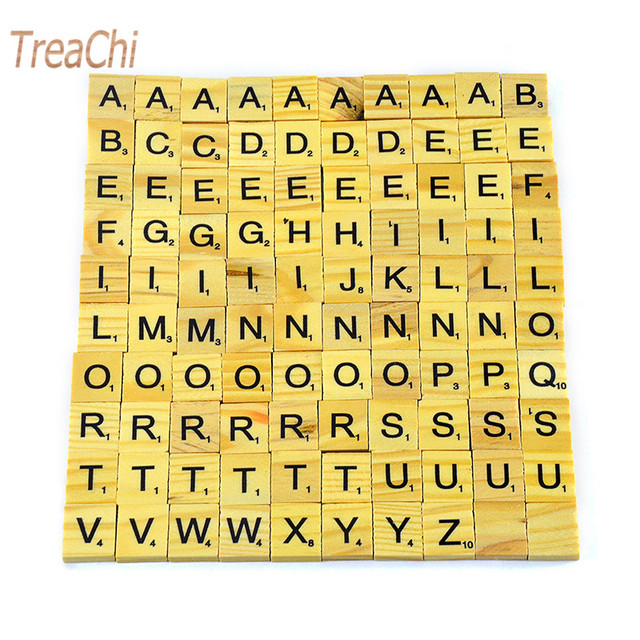 4b9e0f5971b0 100Pcs/set English Words Wooden Letters Alphabet Tiles Black Scrabble  Letters & Numbers For Crafts Wood