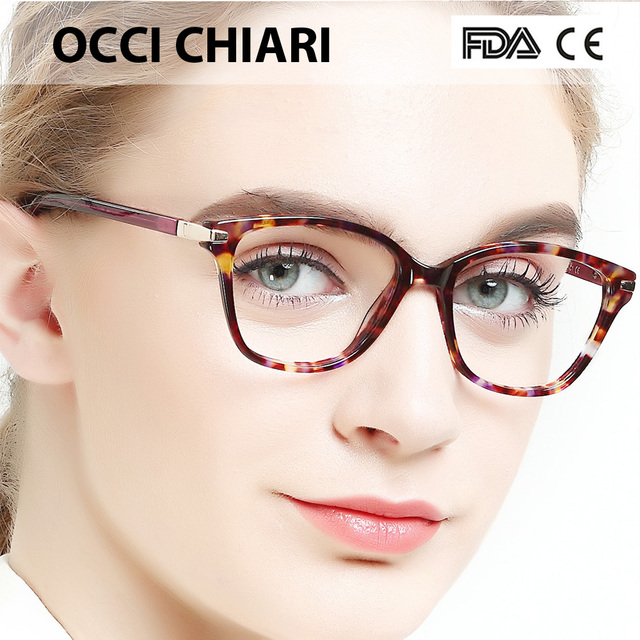 102a7d94b9 OCCI CHIARI Italy Design demi HandMade clear lenses glasses Prescription  Lens Medical Optical glasses women clear purple BAUER