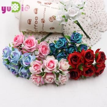 6 sztuk partia Mini-jedwab róża bukiet sztuczny kwiat na ślub dekoracji domu Flores ślub kostium kapelusz DIY akcesoria tanie i dobre opinie HB02 Ślub NoEnName_Null Rose Cloth and stamens Kwiaty dekoracyjne Wianki róża