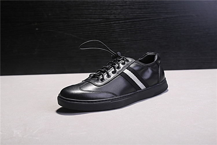 Black Genuine Leather Men Casual Shoes Round Toe Rubber Heel Flat - Men's Shoes - Photo 3