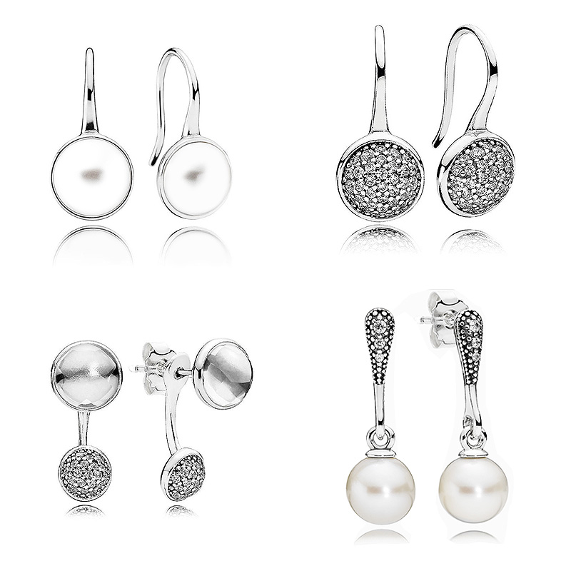 Dazzling Droplets Elegant Beauty Pearl Hanging Earring 925 Sterling Silver Earrings For Women Wedding Party Gift Pandora Jewelry