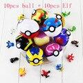 13 Color 10 unids/lote Pokeball + 10 unids azar Figura Elf elfos de Poke Bola Amo Super Gran Bola De Cenizas De Pikachu PVC Figura de Juguete