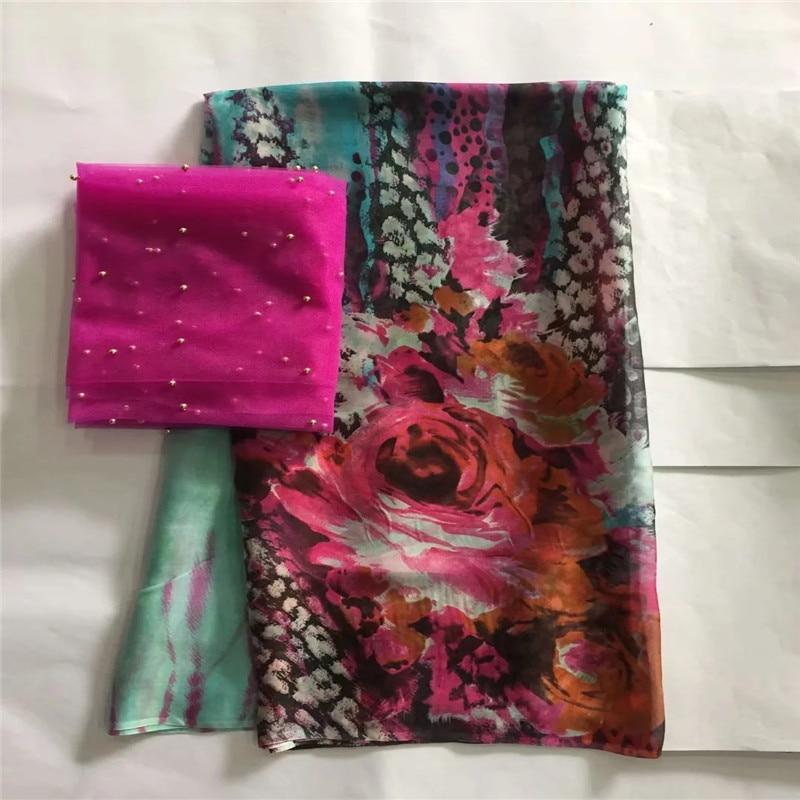 5 + 2 yards/lot de tissu de soie africaine fantaisie avec des pierres pour les impressions de robe tissu de soie rayonne tissu de burnout textile à coudre! LXE032721