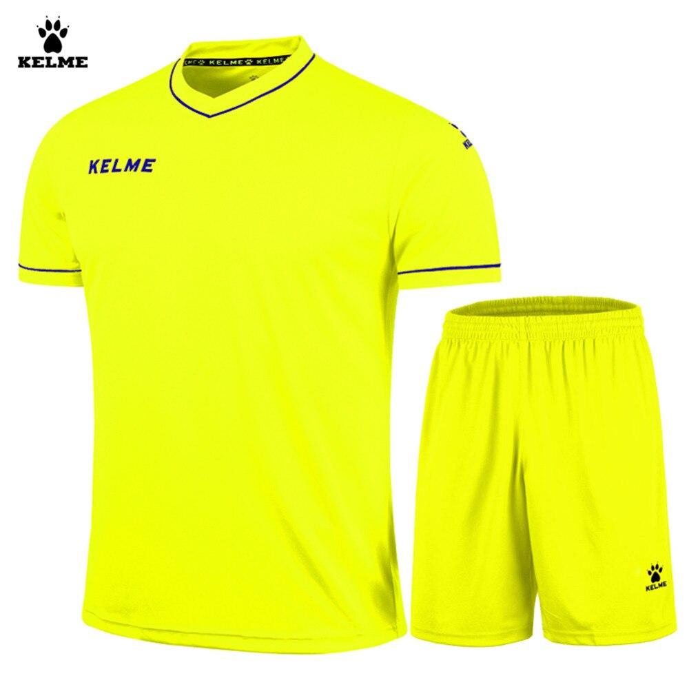 Kelme Men Short Sleeve V-neck Breathable Elastic Soccer Suit K15Z204  Fluorescent Yellow 804e2ecc4