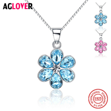 925 Sterling Silver Heart Pendant Necklace with Austria Crystal Flower Shape Women & Girl Jewelry Wholesale Price