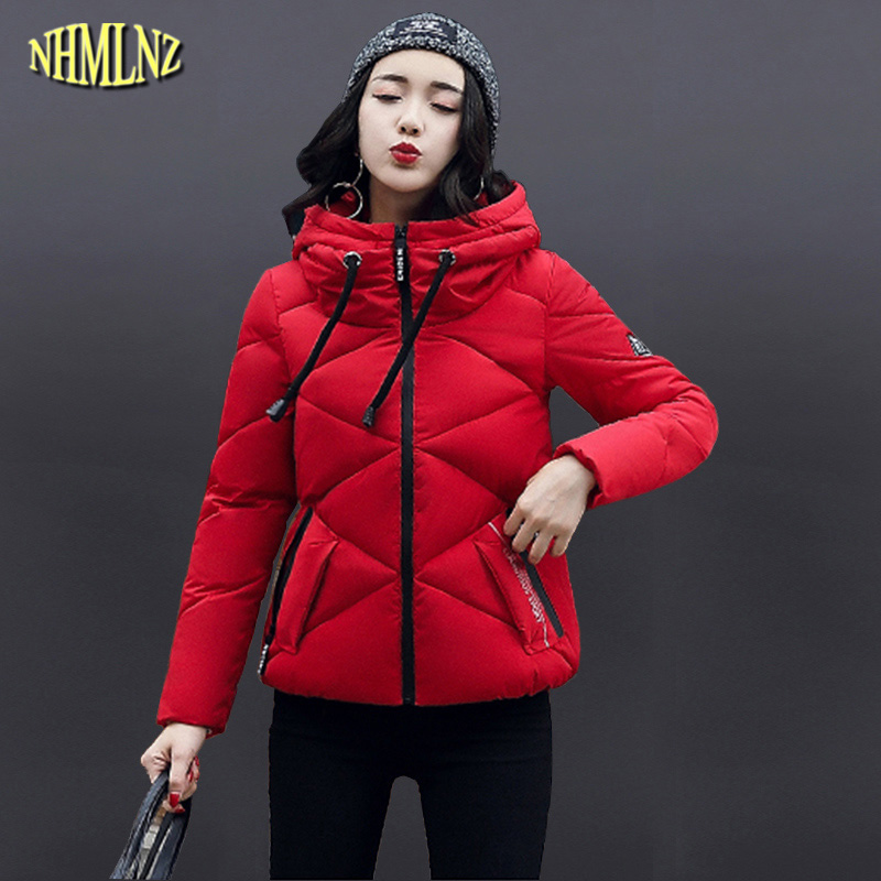 Short section Elegant Winter Women Cotton coat Long sleeve Hooded Warm Fashion Solid color Winter Women jackets M-2XL WK117 fashion elegant m