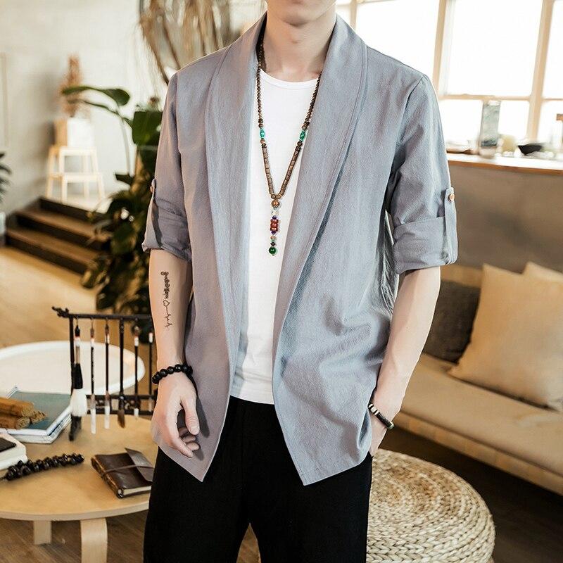 Plus Men's Roll-up Long Sleeve Shirt Spring Loose Retro Chinese Style Men's Shirt Mandarin Collar Traditional Clothing Man 5XL