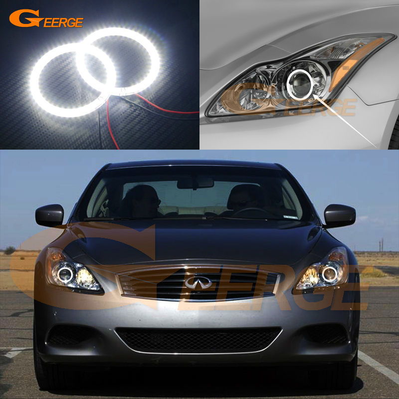 For INFINITI G37 COUPE Q60 Xenon Headlight 2008-2015 Excellent Angel Eyes Ultra bright illumination smd led Angel Eyes kit led headlight lights angel eyes