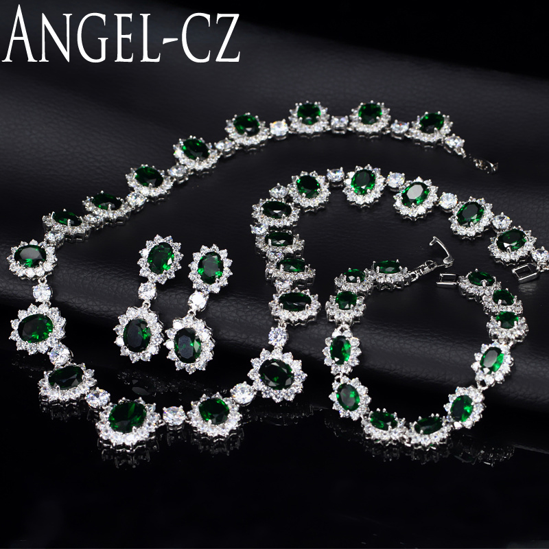 ANGELCZ Vintage African Party Zircon Jewelry Sets Nigerian Elegant Green Stones Bracelet Earrings And Necklace For Women AJ046 a suit of elegant red rhinestone bamboo necklace bracelet ring and earrings for women
