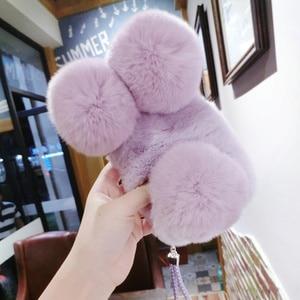 Image 4 - 高級パンダウサギの毛皮ケース11 12 x xs最大xr 8 7プラス6s 6プラス5 5sかわいい漫画暖かいふわふわの毛ぬいぐるみケースカバー