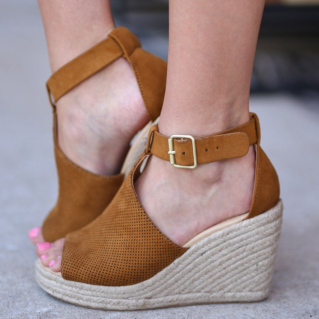 YOUYEDIAN Women Heels Black Women Fashion Flock Wedges High Ankle Outdoor Sandals Peep Toe Casual Shoes #w35