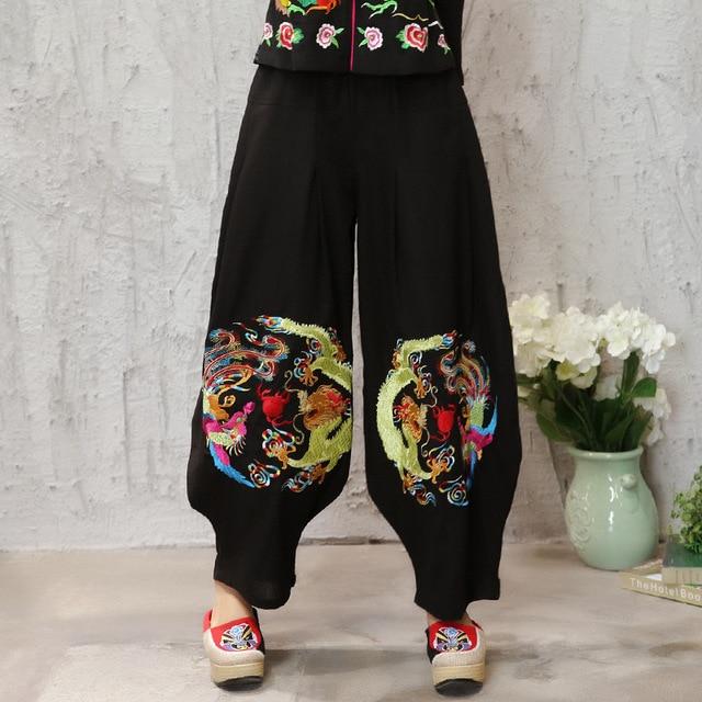 Fashion 2016 Ladies Elegant Stretch Elastic Waist Harem Pants For Women Pockets Casual Ethnic Female Pant Hip Hop Style