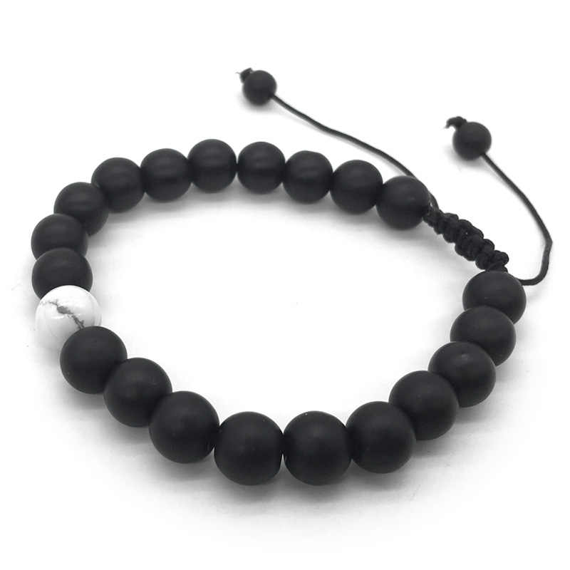 1-2Pcs/Set Adjustable Couples Distance Bracelet  Natural Stone White and  Black Yin Yang Beaded Bracelets for Men Women