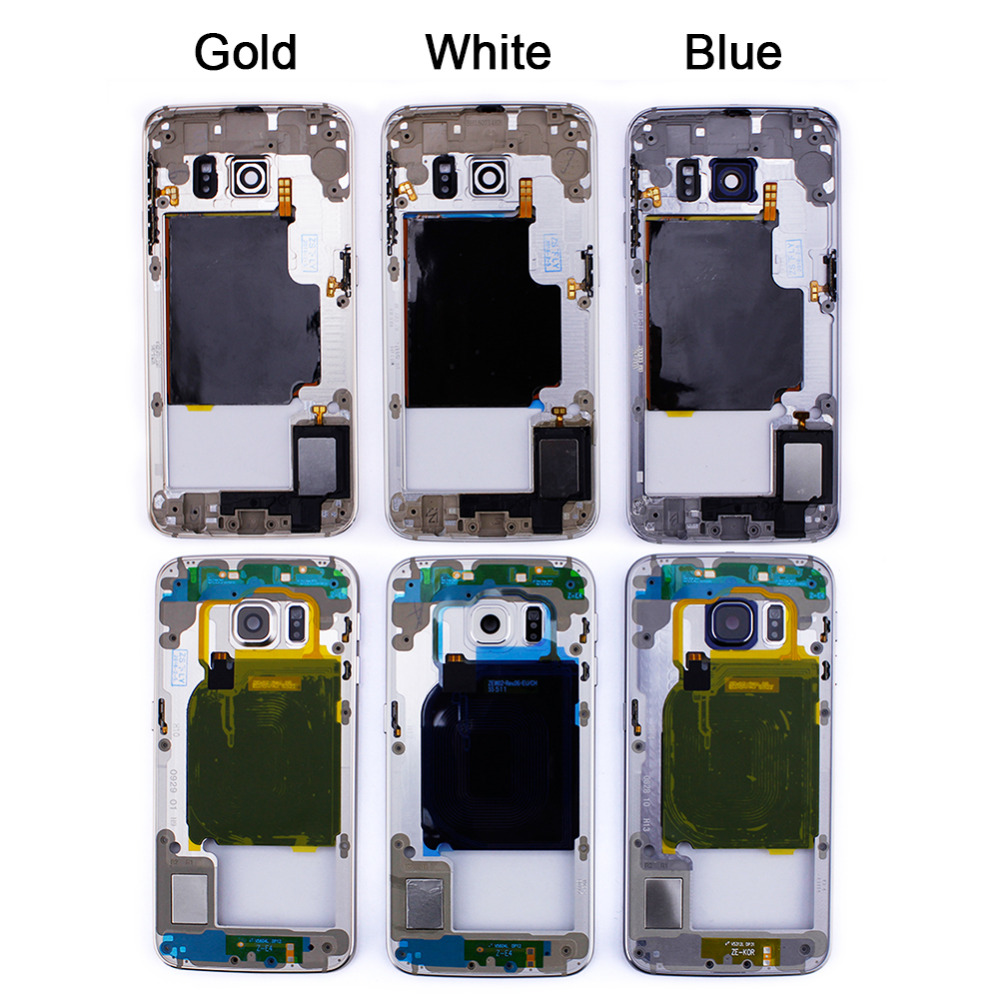 Golden Blue White Phone Middle Mid Frame Chassis Housing for Samsung Galaxy S6 edge Replacement Parts