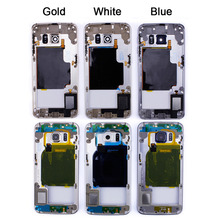Golden Blue White Phone Middle Mid Frame Chassis Housing for Samsung Galaxy S6 edge Replacement Parts Repair Part Free Shipping