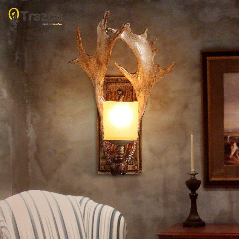 Festa di natale Lampada Da Parete per LED della decorazione della casa della lampada del corridoio lampada de parede legno Corna balcone di illuminazione internaFesta di natale Lampada Da Parete per LED della decorazione della casa della lampada del corridoio lampada de parede legno Corna balcone di illuminazione interna
