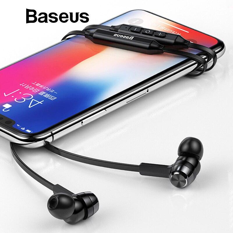 Baseus S06 banda para el cuello Bluetooth auriculares inalámbricos para auriculares estéreo de Xiaomi auriculares para iPhone auriculares con micrófono