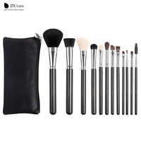 12Pcs Professional Makeup Brush Top Natural Bristle Cosmetics Set With Leather Bags Wooden Handle High Quality