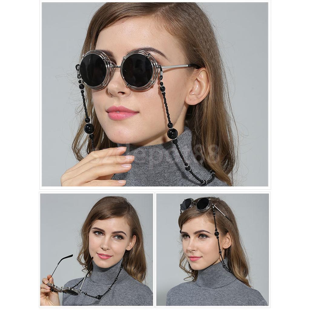 2pcs Sunglasses Chain Reading White Beaded Pearl Glasses Chain Eyewear Neck Lanyard Non-Slip Eyeglasses Holder Strap