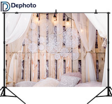 DePhoto Boudoir Bed Wooden Board Pillow Curtain Pendant Photography Backdrops Indoor Photo Background For Photo Studio(China)