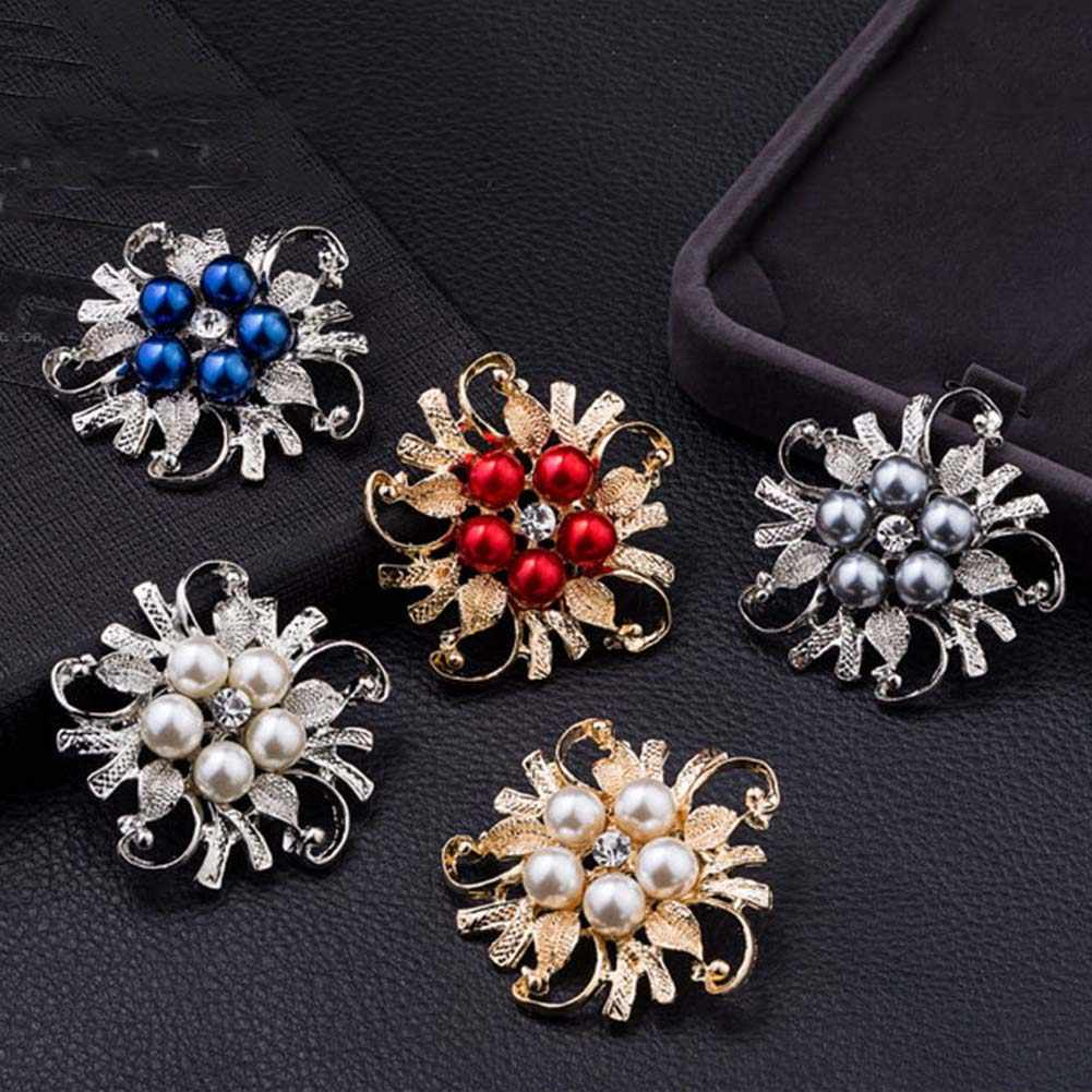 zheFanku 1 pc Hot Sale Brooches For Women Vintage Imitation Pearl Brooch Female Jewelry Collar Flower Leaf Brooches Pins