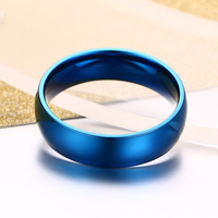 Vnox 6mm Classic Wedding Ring for Men / Women Gold / Blue / Silver Color Stainless Steel US size 2