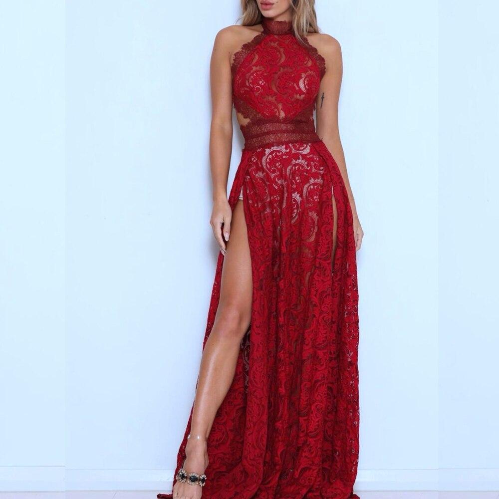 Arrivo Maxi Elegante Halter Sexy Scava Modo 2018 Del Celebrità Vino Merletto Split Lungo Nuovo Notte Di Vestito Abiti Rosso Fuori EXxdqp