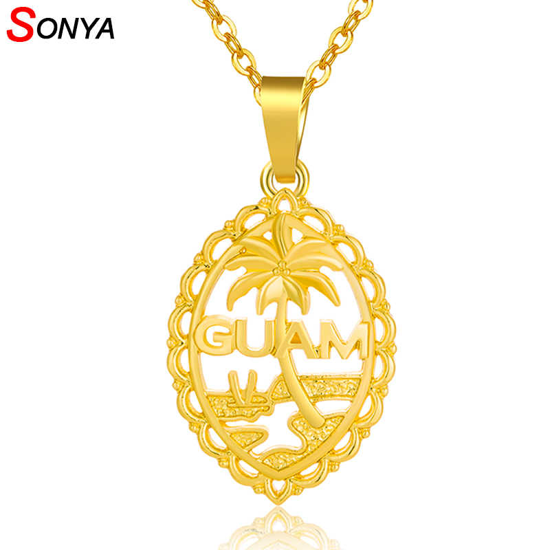 SONYA Trendy Guam Flag And Map Pendant Necklaces For Women Gold Color Jewelry Guam Country Maps Patriotic National Day Gift
