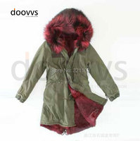 wine red big fur real collar long style winter parka, removed fur collar long warm parka coat supplier price