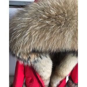 Image 4 - Maomaokong אמיתי שועל פרווה מעיל חורף מעיל נשים ארוך Parka טבעי דביבון פרווה צווארון הוד עבה חם נדל פרווה אניה מעיילי