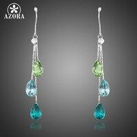 AZORA Elegant Charm Earrings For Women With 3pcs Water Drop Stellux Austrian Crystal Dangle Wedding Earrings