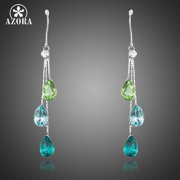 AZORA Elegant Charm Earrings for Women With 3pcs Water Drop Stellux Austrian Crystal Dangle Wedding Earrings TE0194