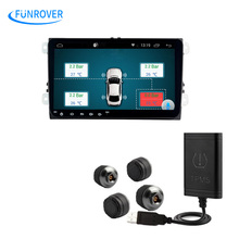 Car TPMS Android Tire Pressure Monitoring System with 4 Internal Sensors for OS DVD Player Tyre Auto Security Alarm Systems USB