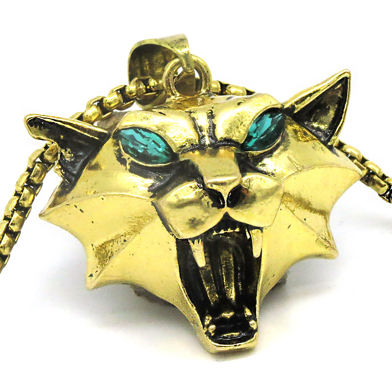 witcher Cat School Medallion Cosplay Pendant witcher wild monster hunter Ciri Medallion gold color cat witcher necklace NK0247