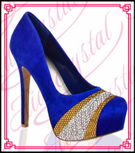 Aidocrystal Custom Made Rhinestones navy blue wedding Shoes And matching purse Set Close Round Toe Wedding
