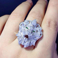 Qi Xuan_Trendy Jewelry_Domineering Lion Ring_S925 Solid Sliver Fashion Domineering Lion Ring_Manufacturer Directly Sale
