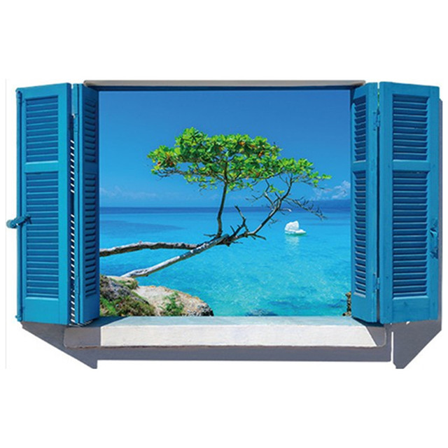Fake Window Blue Sea View Mural Seaside Green Tree Wall Art Stickers Home Office Decoration