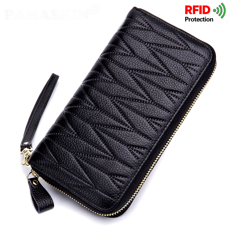 New Arrivals RFID Protection Bank Geometric Multi-card Bit Women Wallet 2018 Hot Brand Large Capacity Cow Leather Card Wallets