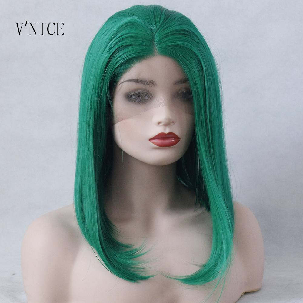 V NICE Green Short BOB Middle Part Wig Hand Tied Hair Heat Resistant High Temperature Synthetic