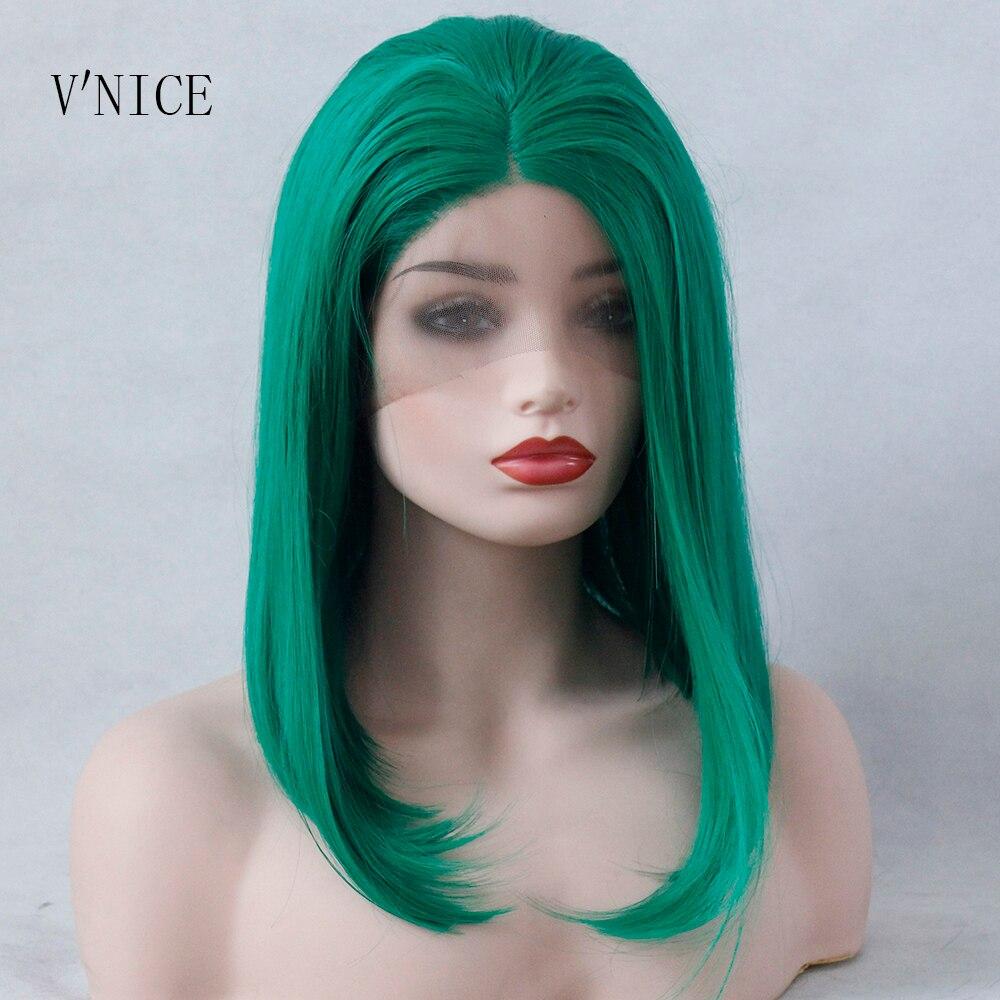 V'NICE vert court BOB partie moyenne perruque cheveux attachés à la main résistant à la chaleur haute température synthétique dentelle avant perruque pour les femmes