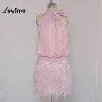 Розовый перо коктейльные платья с рукавом три четверти дешевые коктейль платье 2016 халат De Soiree с высокой горловиной Короткие платья выпускн