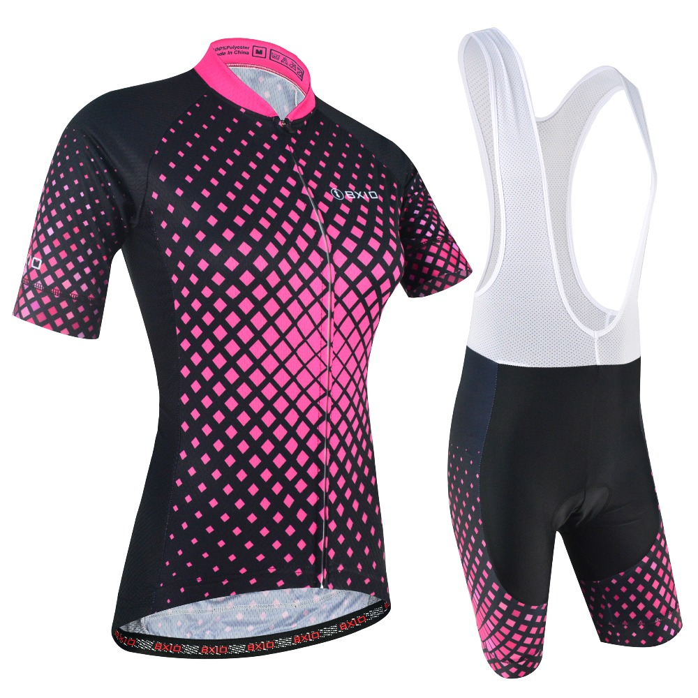 BXIO Women Cycling Clothing Short Sleeve Sportswear With Bib Shorts Rose Cycling Jersey Sets Summer Pro Team Bike Jerseys 177