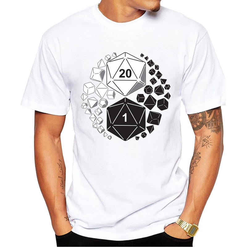 Funny Design Yin Yang Game Tshirt DnD Dice Set T-shirt Men T Shirt Slaying Dragons In Dungeons Tops Tees Clothes