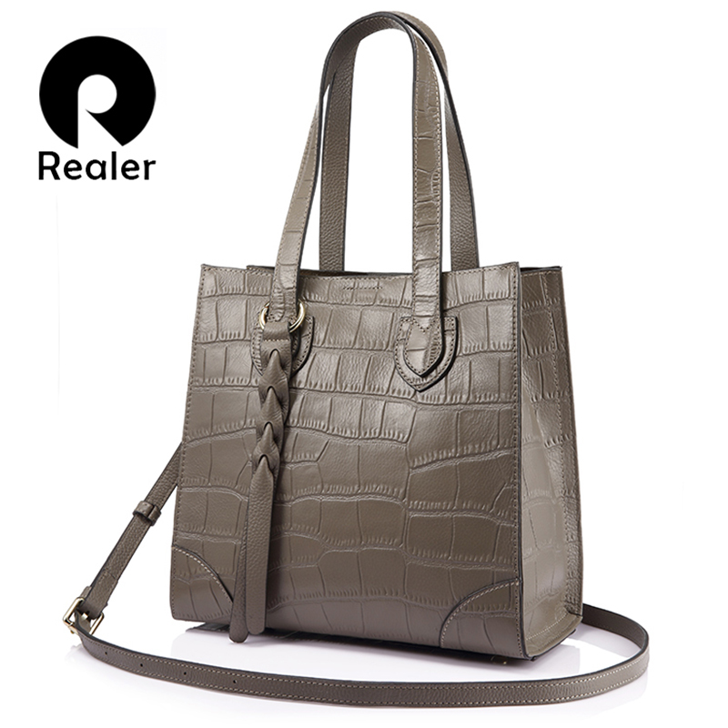REALER brand woman bags genuine leather women handbag female casual tote bag Shoulder bag large capacity lady Messenger bags new 2017 esufeir brand genuine leather women handbag fashion shoulder bag solid cowhide composite bag large capacity casual tote bag