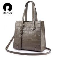 REALER Brand Woman Bags Genuine Leather Women Handbag Female Casual Tote Bag Shoulder Bag Large Capacity