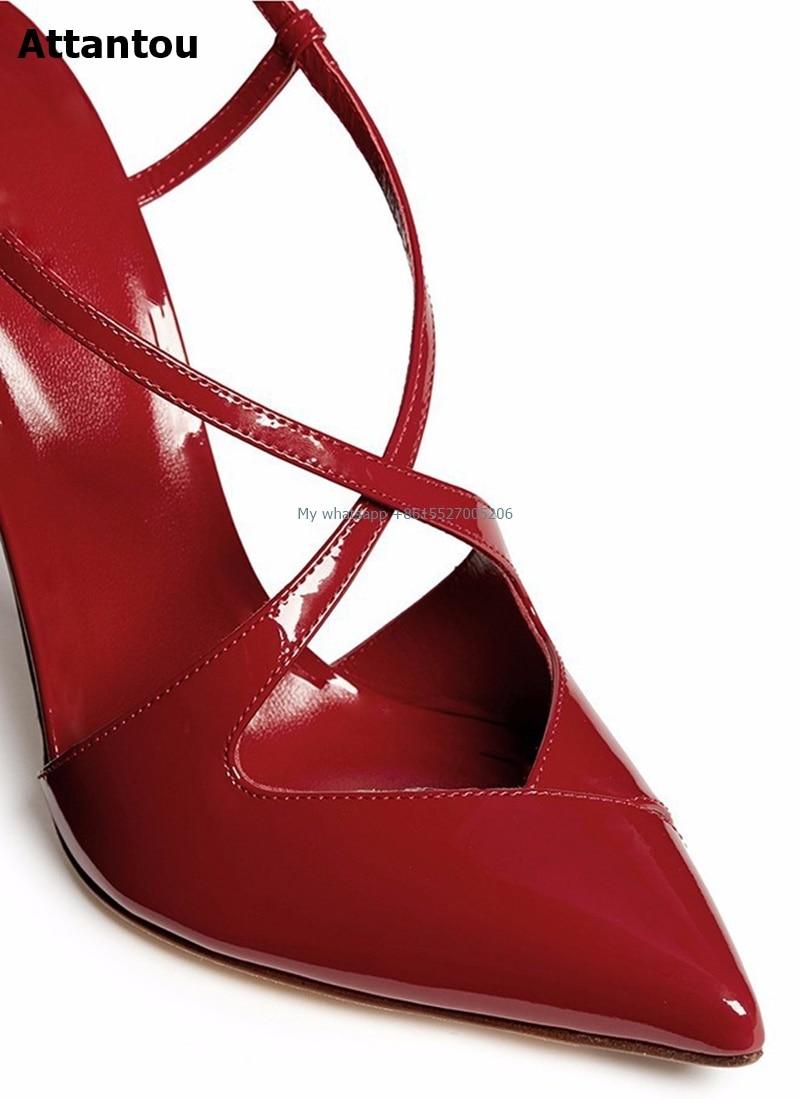 Bout Parti As Pointu Verni Luxe Sexy Hauts Croix Femmes Cuir as Pompes Talons En Rétro Color Chaussures De Dames Color Showed Courroie qgqaCOw
